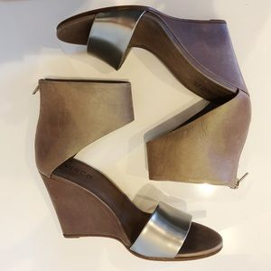 Vince Silver and Brown Wedges